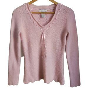 Soft Pink Dainty Scallop Hem Angora & Lambswool V Neck Knit Sweater Size Small